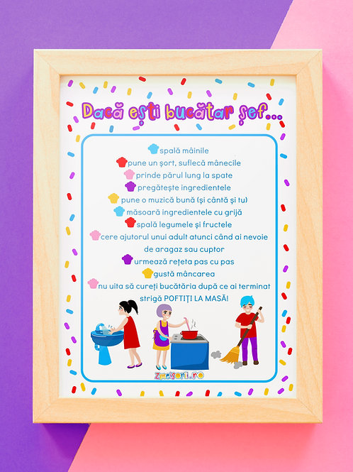 Poster reguli în bucătărie
