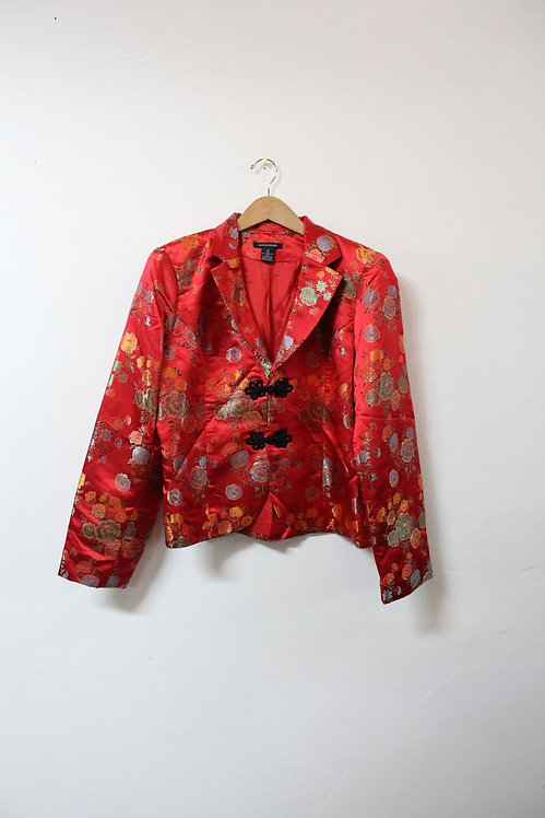 90s Silky Asian Inspired Jacket - L
