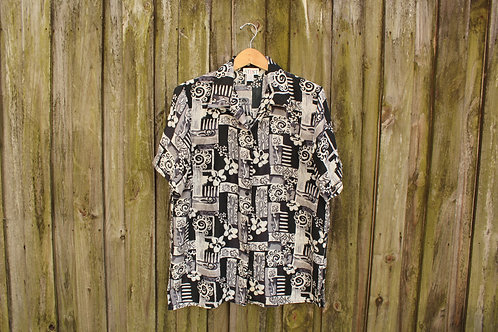 90s Abstract Floral Silk Button Up - S/M/L