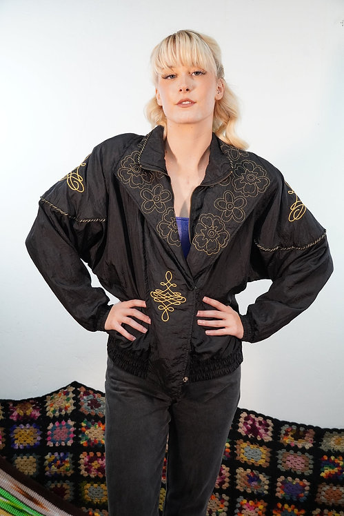 80s Embroidered Track Jacket - M/L