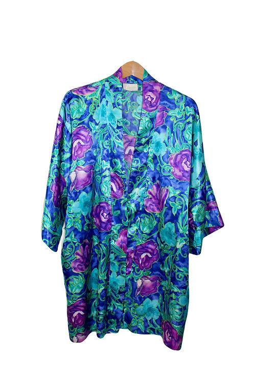 80s Silky Watercolor Robe - S/M/L