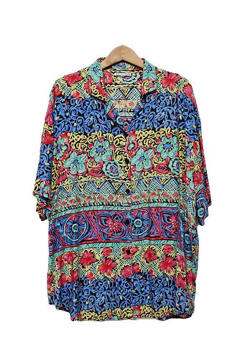 90s Pastel Floral Button Up - XL