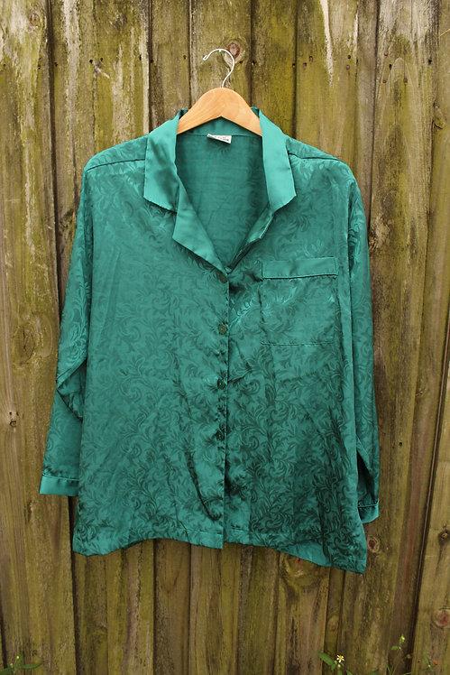 90s Silky Teal (Low-Key) Paisley Sleep Shirt