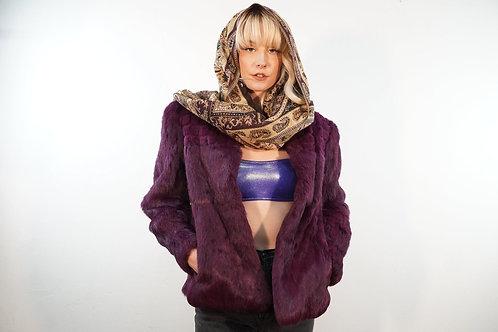 90s Purple Rabbit Fur Coat - L