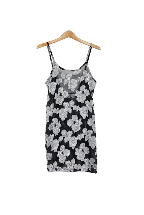 90s Sheer Floral Slip Dress - M/L