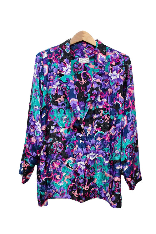 90s Silky Abstract Floral Blazer - L/XL/XXL