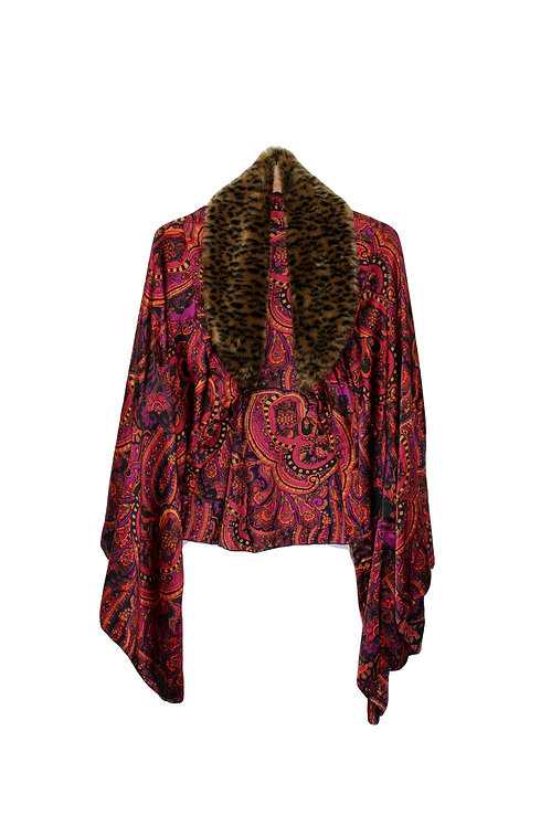 Upcycled Silk Paisley Cape with Floof - OS