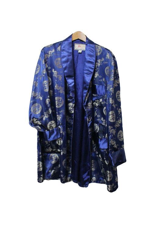 Silky Asian Dragons Smoking Jacket - L/XL