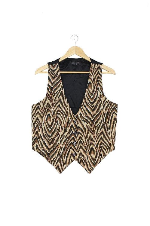 90s Psychedelic Animal Stripe Vest - S/M/L