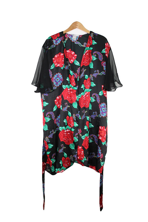 90s Silky Paisley Rose Robe - Plus Size
