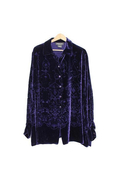 90s Burn Out Velvet Button Up Shirt - Plus Size