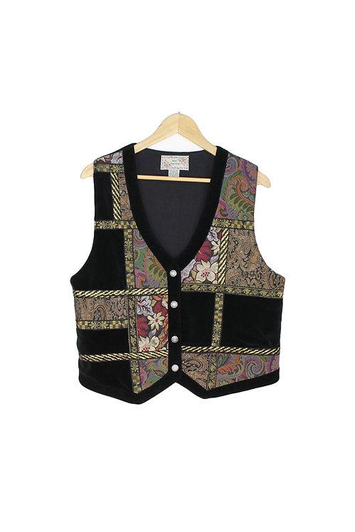 90s Velvet & Gold Patchwork Vest - M/L/XL