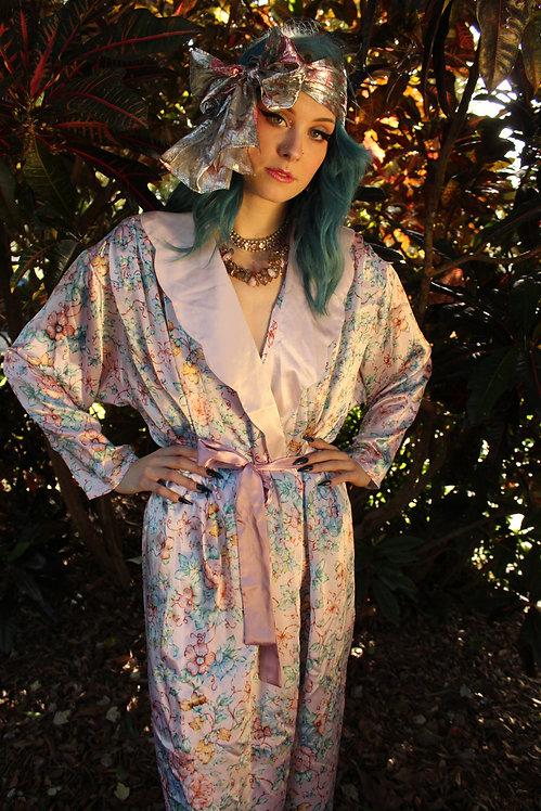 60s Scallop Collar Floral Robe - S/M/L