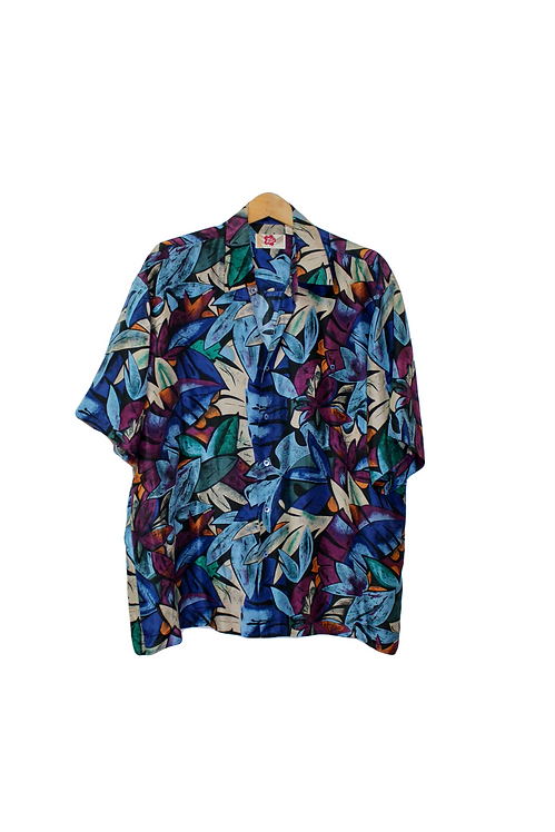 90s Tropical Silk Button Up Dad Shirt - L/XL