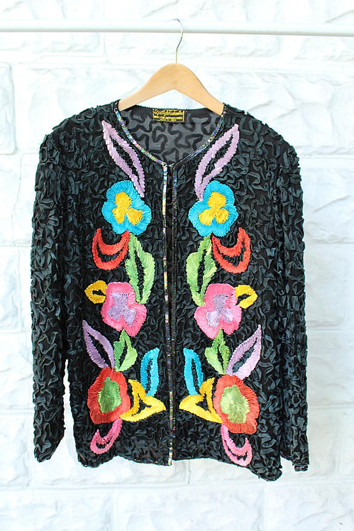 90s Silk Appliqué Ribbon Sweater
