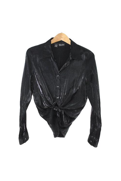 90s Black Lamé Button Up Shirt - M/L