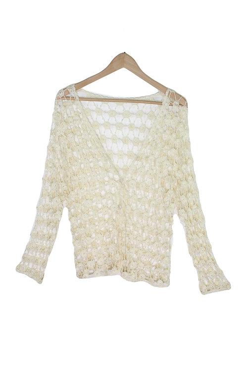 90s Beaded Crochet Cardigan - L/XL