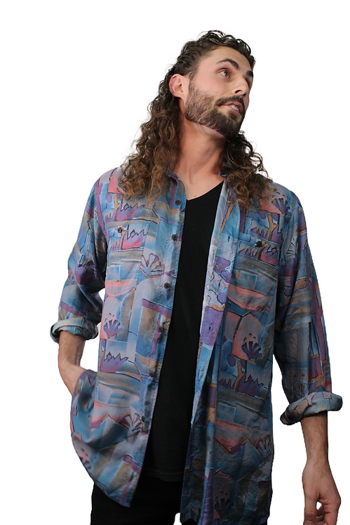 90s Abstract Painting Silk Shirt - M/L