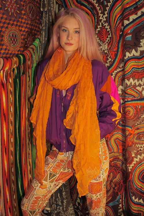 Sheer Orange Embroidered Indian Scarf