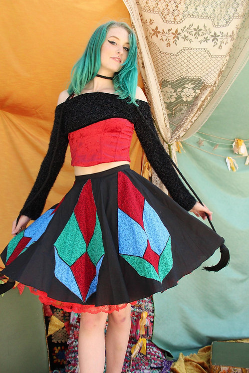 Handmade Vintage Quilted Patchwork Skirt