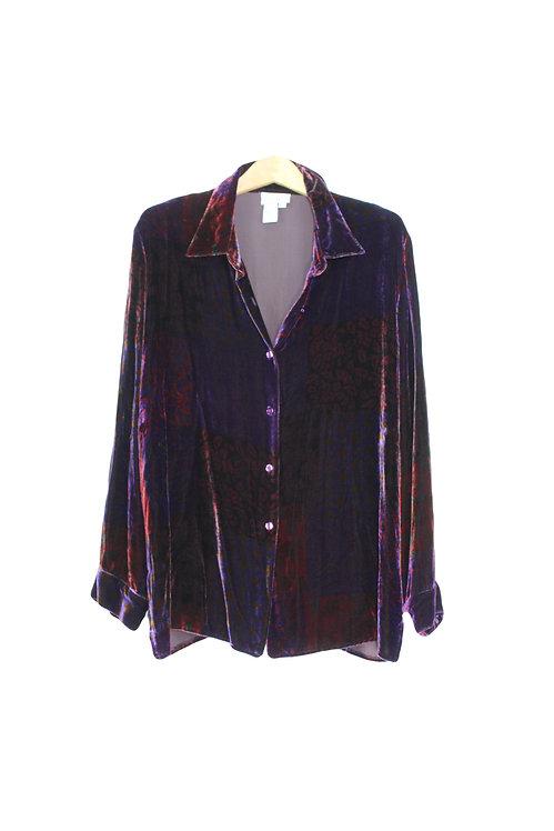 90s Patterned Velvet Button Up - XL+