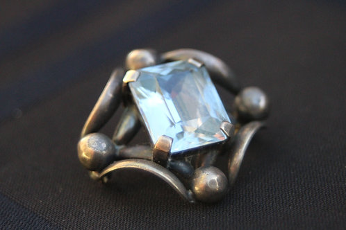 14K Blue Topaz and Sterling Brooch