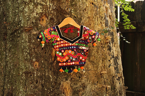 Vintage Handmade Indian Girl's Cropped Blouse