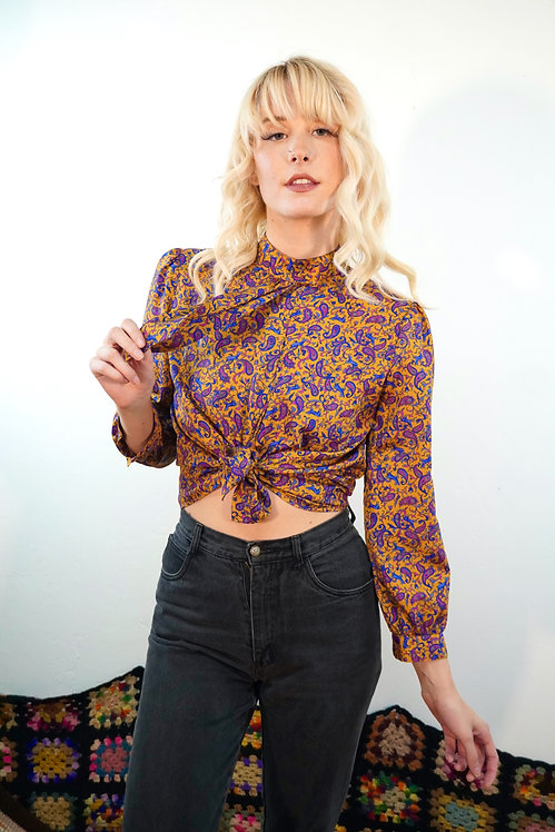 90s Paisley Blouse with Tie - M/L