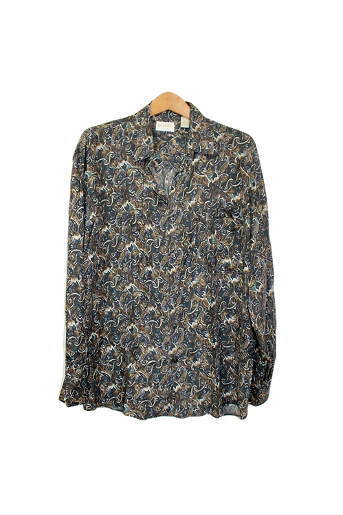 90s Abstract Paisley Silk Button Up - M/L