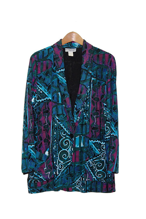 90s Dark Abstract Blazer - M/L
