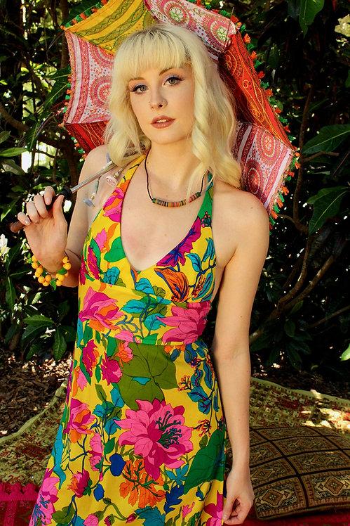 70s Bright Floral Maxi Dress - XS/S