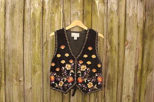 90s Whimsical Embroidered Velvet Vest - S/M/L