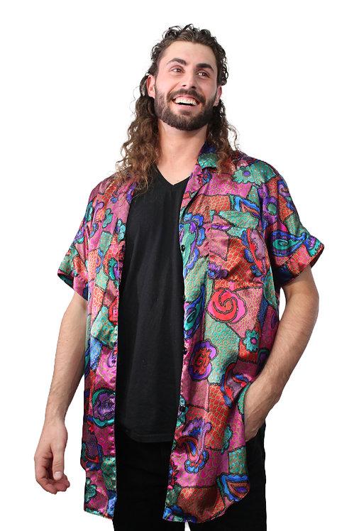 90s Abstract Floral Paisley Sleep Shirt - XL