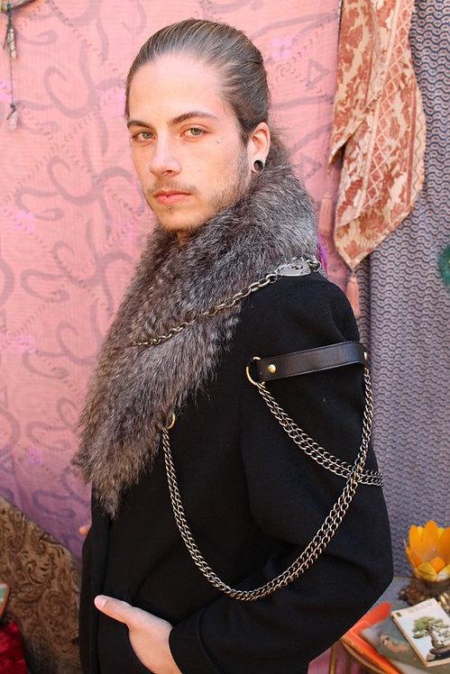 Handmade Upcycled Embellished Wool Viking Coat