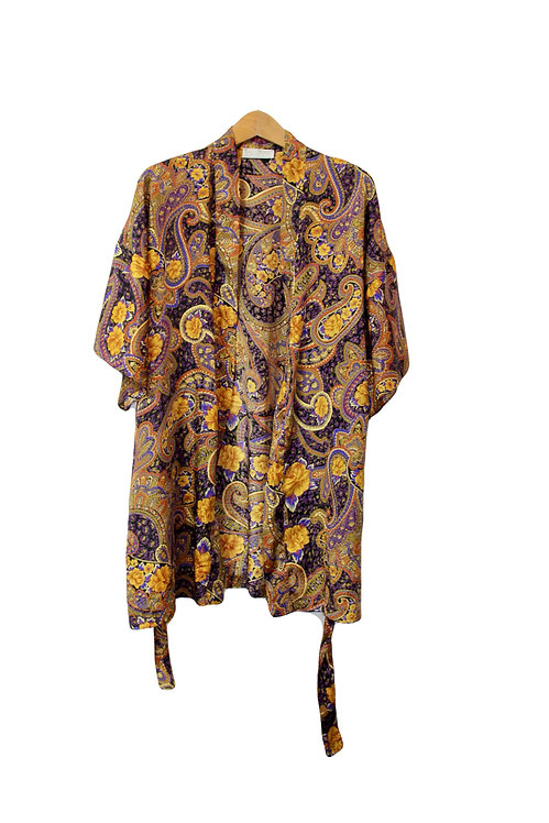 90s Embossed Paisley Robe - S/M/L/XL