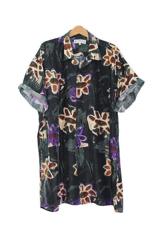 90s Floral Silk Button Up - Plus Size 3XLT
