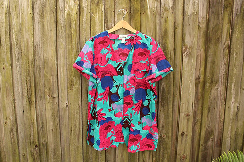 80s Bright Abstract Button Up - XL/XXL