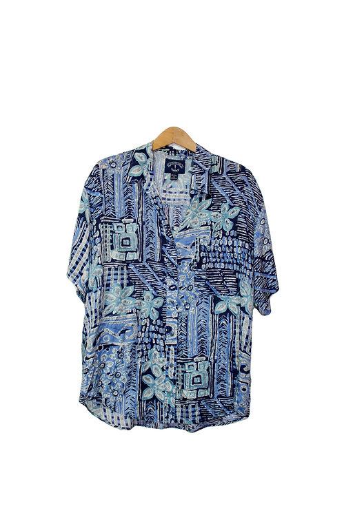 90s Trippy Silk Button Up Dad Shirt - L/XL