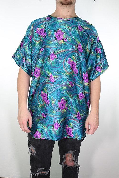90s Silky Paisley Sleep Shirt - L/XL