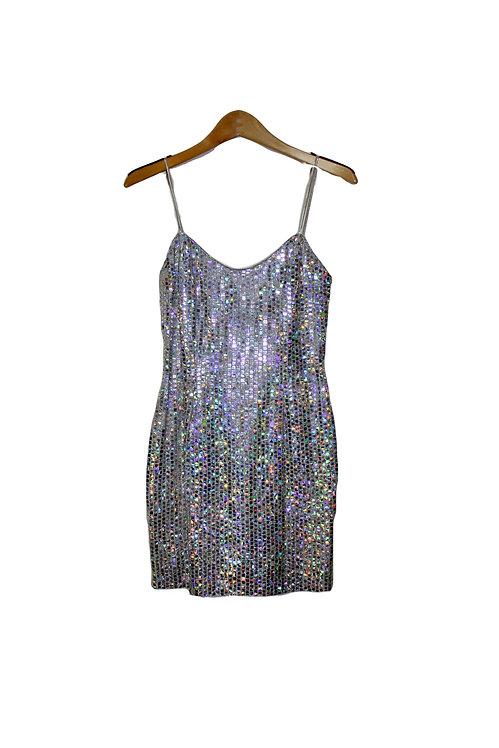 Millennium Silver Metallic Mini Dress - S/M