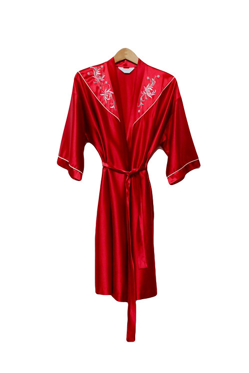 50s Shiny Embroidered Robe - L