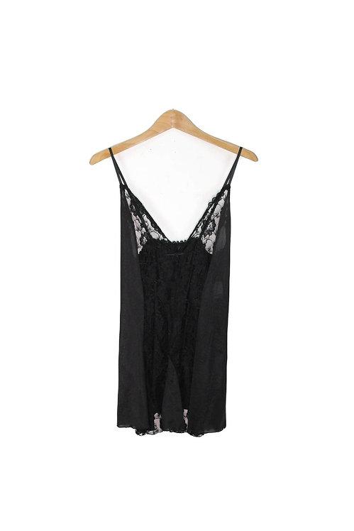 90s Black Lace Slip Dress Set - M/L