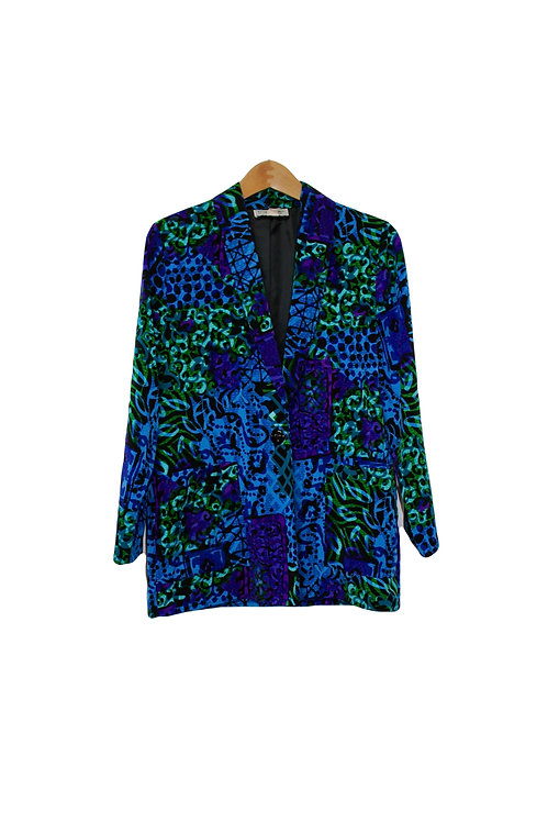 90s Abstract Watercolor Blazer - S/M