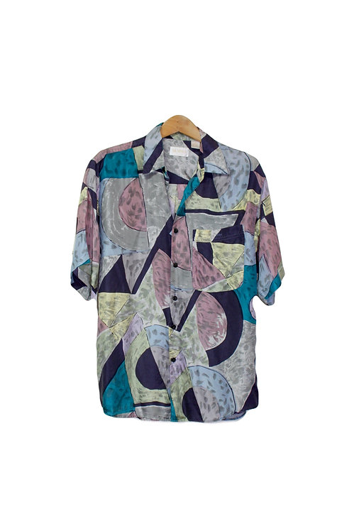 90s Watercolor Silk Button Up Dad Shirt - XS/S