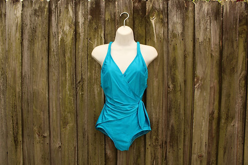 90s Deep-V Wrap-Style One Piece - S/M