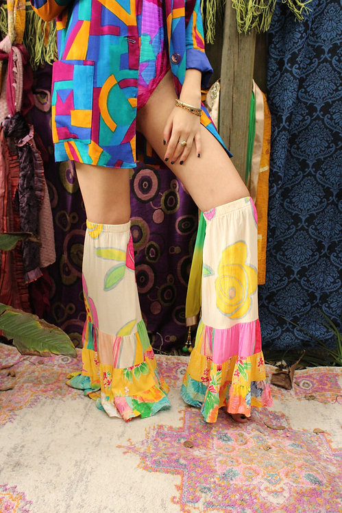 Upcycled Floral Boho Bell Bottom Leg Warmers - S/M