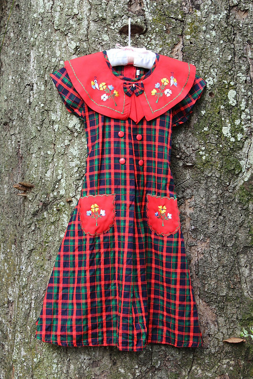 Vintage Girls Size 6 Red Plaid Dress
