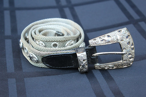 90s Silver Metal Mesh Belt with Stars