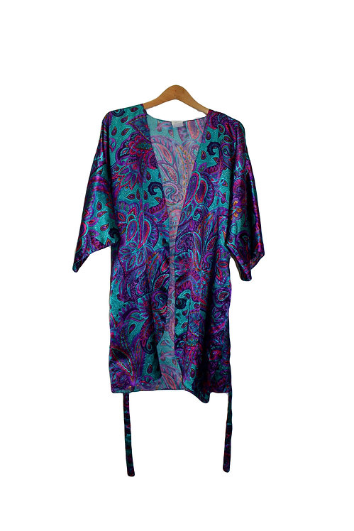 90s Silky Paisley Robe - S/M/L