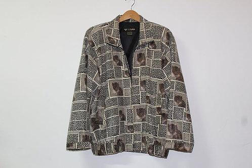 80s Metallic Leopard Print Track Jacket - L/XL